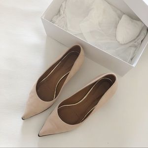 GIVENCHY Dusty Pink Suede Zipper Trim Heels 6